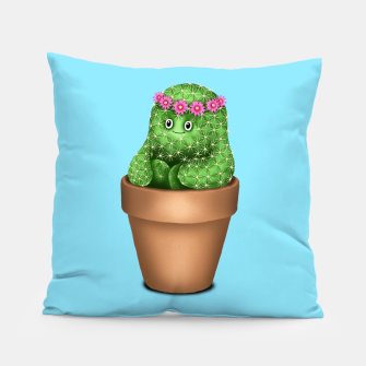 Cute Cactus (Blue Background) Pillow miniature