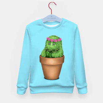Miniature de image de Cute Cactus (Blue Background) Kid's sweater, Live Heroes