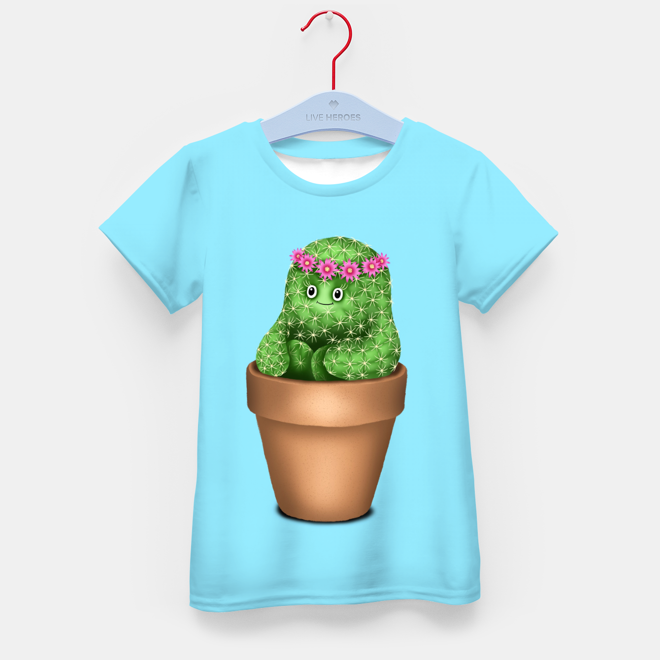 Image de Cute Cactus (Blue Background) Kid's t-shirt - Live Heroes
