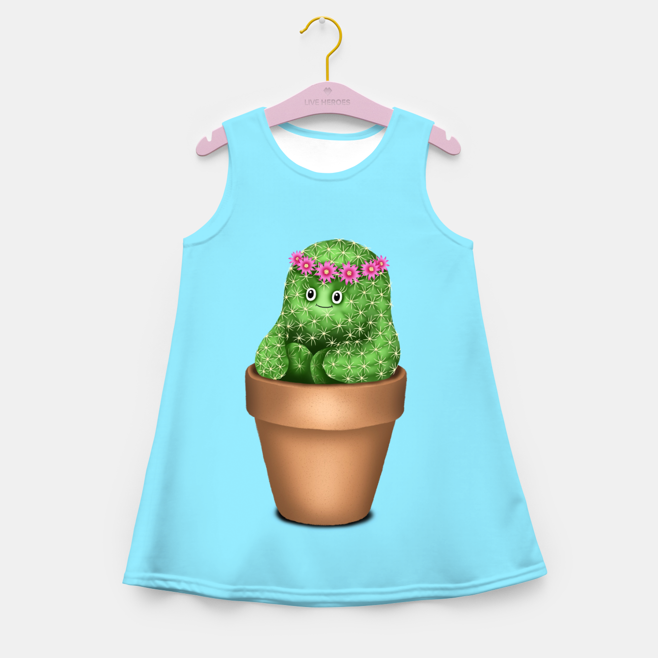 Image de Cute Cactus (Blue Background) Girl's summer dress - Live Heroes