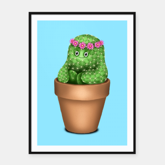 Cute Cactus (Blue Background) Framed poster miniature
