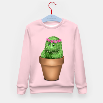 Thumbnail image of Cute Cactus (Pink Background) Kid's sweater, Live Heroes