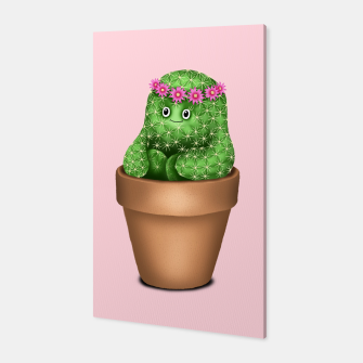 Cute Cactus (Pink Background) Canvas miniature