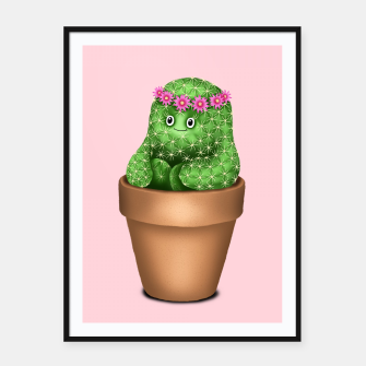 Cute Cactus (Pink Background) Framed poster miniature