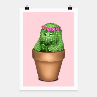 Cute Cactus (Pink Background) Poster miniature
