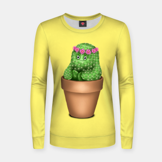 Cute Cactus (Yellow Background) Women sweater miniature