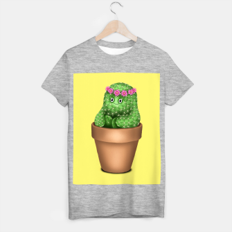 Imagen en miniatura de Cute Cactus (Yellow Background) T-shirt regular, Live Heroes
