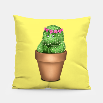 Cute Cactus (Yellow Background) Pillow miniature