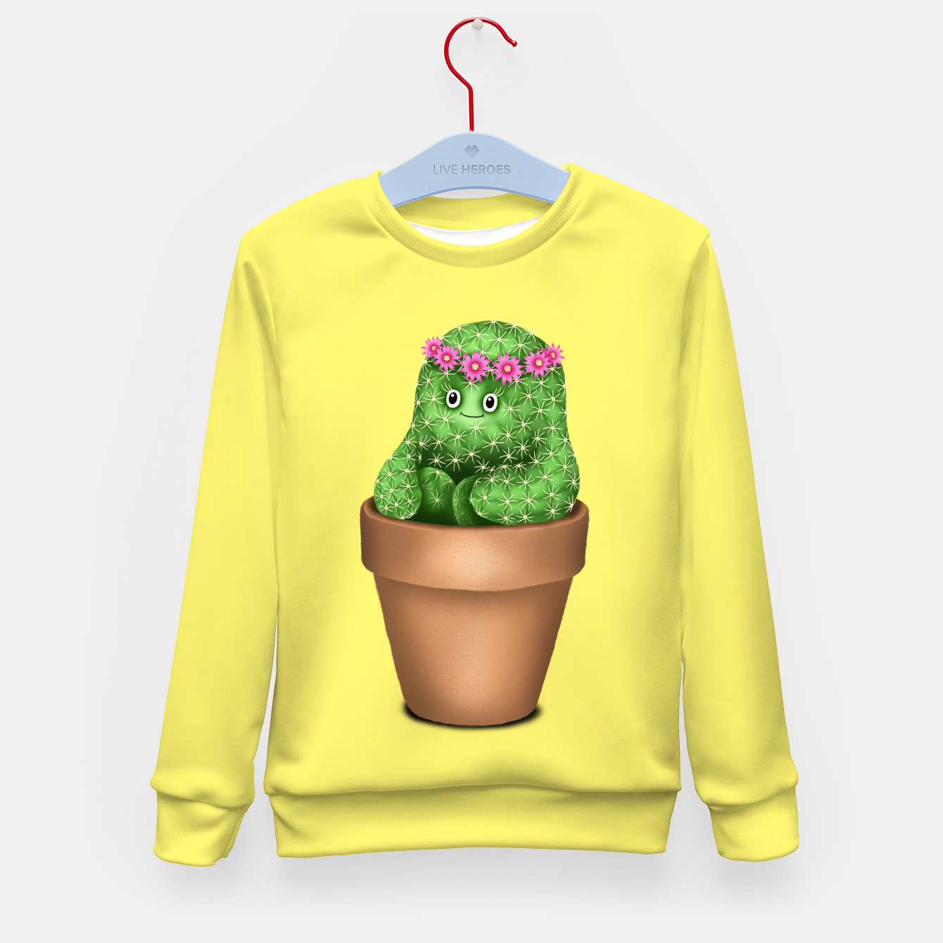 Image de Cute Cactus (Yellow Background) Kid's sweater - Live Heroes