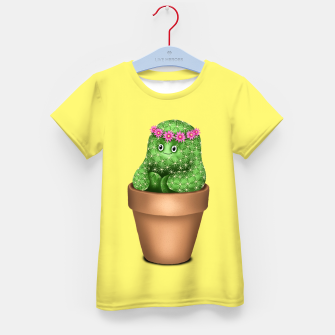 Miniature de image de Cute Cactus (Yellow Background) Kid's t-shirt, Live Heroes