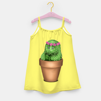 Cute Cactus (Yellow Background) Girl's dress miniature