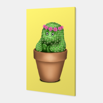Cute Cactus (Yellow Background) Canvas miniature