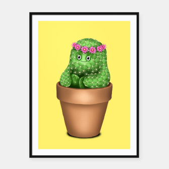 Cute Cactus (Yellow Background) Framed poster miniature
