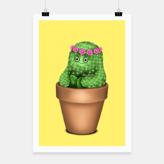 Cute Cactus (Yellow Background) Poster miniature