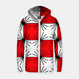 Thumbnail image of Abstract geometric pattern - red, black and white. Zip up hoodie, Live Heroes