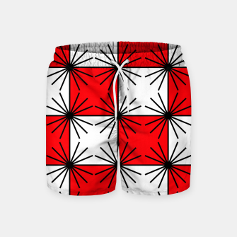 Thumbnail image of Abstract geometric pattern - red, black and white. Swim Shorts, Live Heroes