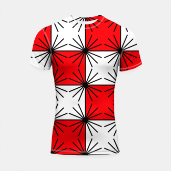 Thumbnail image of Abstract geometric pattern - red, black and white. Shortsleeve rashguard, Live Heroes