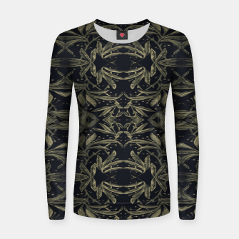 Miniatur Stylized Golden Ornate Nature Motif Print Women sweater, Live Heroes