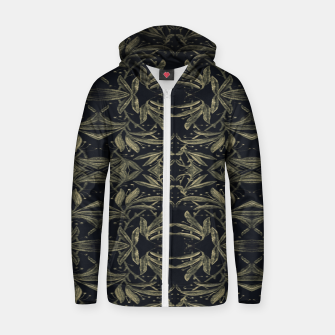 Miniatur Stylized Golden Ornate Nature Motif Print Zip up hoodie, Live Heroes