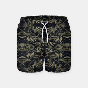 Thumbnail image of Stylized Golden Ornate Nature Motif Print Swim Shorts, Live Heroes