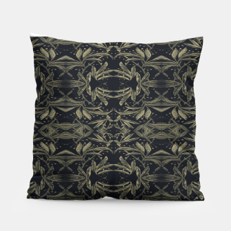 Miniatur Stylized Golden Ornate Nature Motif Print Pillow, Live Heroes