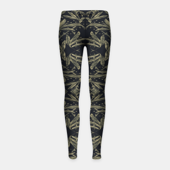 Thumbnail image of Stylized Golden Ornate Nature Motif Print Girl's leggings, Live Heroes