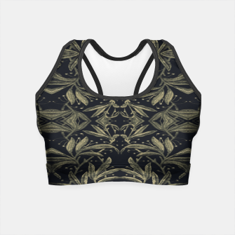 Miniatur Stylized Golden Ornate Nature Motif Print Crop Top, Live Heroes