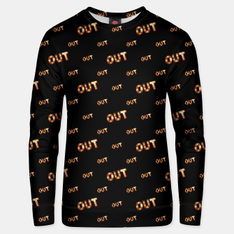 Thumbnail image of Out Word Motif Print Pattern Unisex sweater, Live Heroes