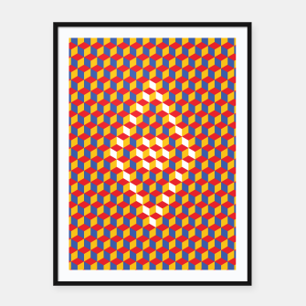 Thumbnail image of Abstract Blocks Framed poster, Live Heroes