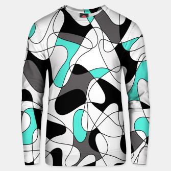 Thumbnail image of Abstract geometric pattern - turkiz, gray, black and white. Unisex sweater, Live Heroes