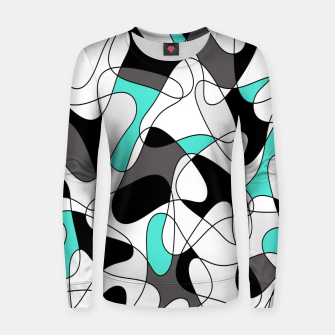 Thumbnail image of Abstract geometric pattern - turkiz, gray, black and white. Women sweater, Live Heroes
