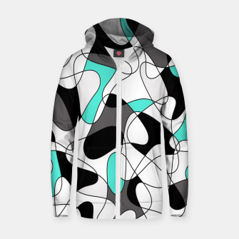 Thumbnail image of Abstract geometric pattern - turkiz, gray, black and white. Zip up hoodie, Live Heroes