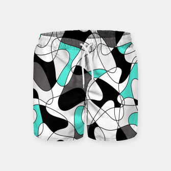 Imagen en miniatura de Abstract geometric pattern - turkiz, gray, black and white. Swim Shorts, Live Heroes