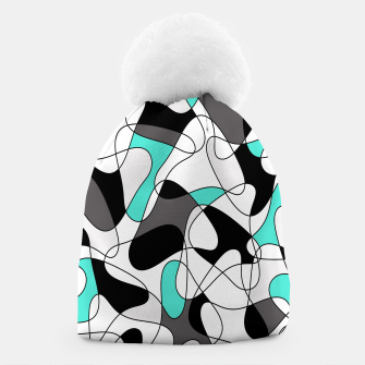 Thumbnail image of Abstract geometric pattern - turkiz, gray, black and white. Beanie, Live Heroes