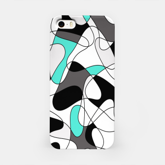 Imagen en miniatura de Abstract geometric pattern - turkiz, gray, black and white. iPhone Case, Live Heroes