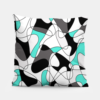 Thumbnail image of Abstract geometric pattern - turkiz, gray, black and white. Pillow, Live Heroes