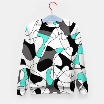Thumbnail image of Abstract geometric pattern - turkiz, gray, black and white. Kid's sweater, Live Heroes