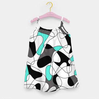 Thumbnail image of Abstract geometric pattern - turkiz, gray, black and white. Girl's dress, Live Heroes