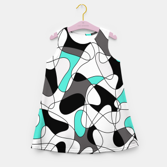 Imagen en miniatura de Abstract geometric pattern - turkiz, gray, black and white. Girl's summer dress, Live Heroes