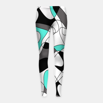 Thumbnail image of Abstract geometric pattern - turkiz, gray, black and white. Girl's leggings, Live Heroes