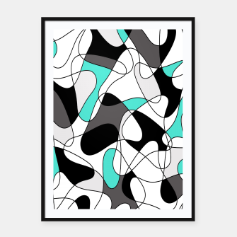 Imagen en miniatura de Abstract geometric pattern - turkiz, gray, black and white. Framed poster, Live Heroes