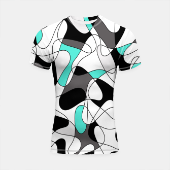 Thumbnail image of Abstract geometric pattern - turkiz, gray, black and white. Shortsleeve rashguard, Live Heroes