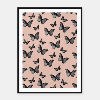 Thumbnail image of Black Pale Terracotta Butterfly Glam #1 #pattern #decor #art  Plakat mit rahmen, Live Heroes