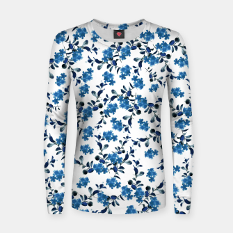 Miniature de image de Blue Flower Pattern #2 #spring #floral #decor #art  Frauen sweatshirt, Live Heroes