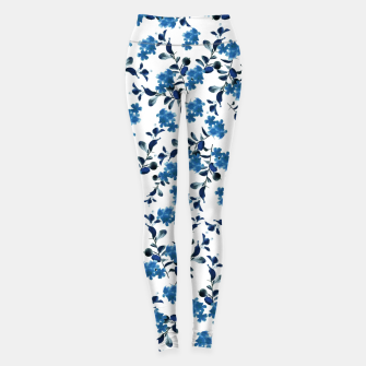 Miniature de image de Blue Flower Pattern #2 #spring #floral #decor #art  Leggings, Live Heroes
