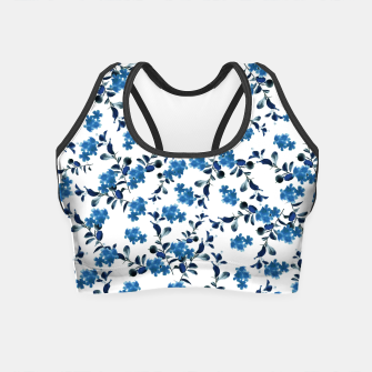 Miniature de image de Blue Flower Pattern #2 #spring #floral #decor #art  Crop Top, Live Heroes