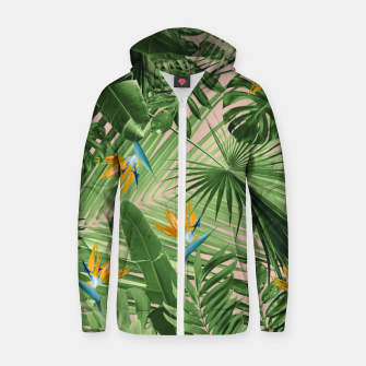Miniaturka Bird of Paradise Jungle Leaves Dream #2 #tropical #decor #art  Reißverschluss kapuzenpullover, Live Heroes