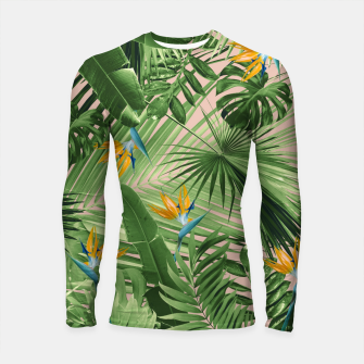Thumbnail image of Bird of Paradise Jungle Leaves Dream #2 #tropical #decor #art  Longsleeve rashguard, Live Heroes