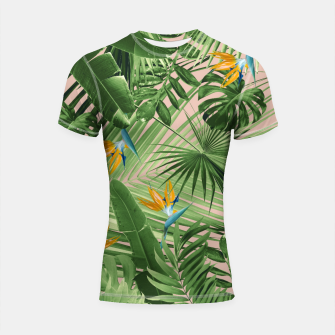 Thumbnail image of Bird of Paradise Jungle Leaves Dream #2 #tropical #decor #art  Shortsleeve rashguard, Live Heroes