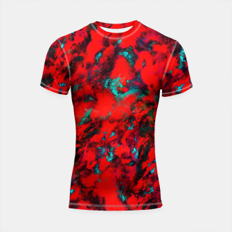 Thumbnail image of Fluttering red Shortsleeve rashguard, Live Heroes